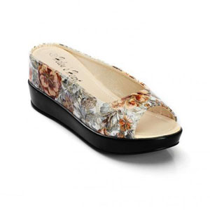 Helens Heart Womens CFW-8127-B6 Floral PU Wedge Casual Shoes