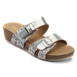 Helens Heart Womens CFW-C01 Silver Synthetic Sandals Casual Shoes