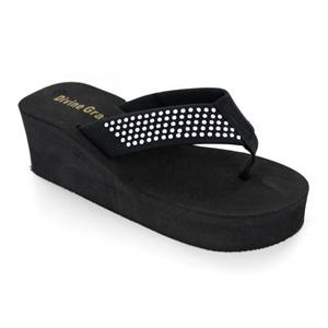 Helens Heart Womens CFW-DG151 Black Beaded Flip Flops Casual Shoes