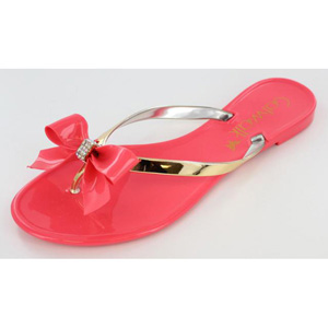 Helens Heart Womens CFW-PT-122 Coral Vinyl Flip Flops Casual Shoes