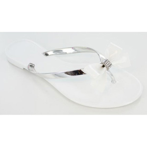 Helens Heart Womens CFW-PT-122 White Vinyl Flip Flops Casual Shoes