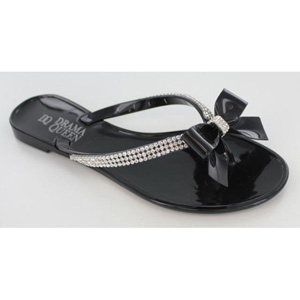 Helens Heart Womens CFW-PT-128 Black Satin Sandals Casual Shoes