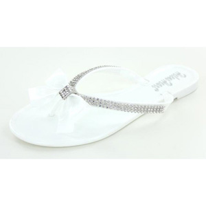 Helens Heart Womens CFW-PT-128 White Satin Sandals Prom and Evening Shoes