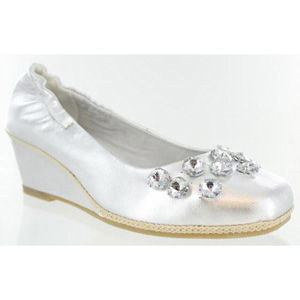 Helens Heart Womens FS-311-3 Silver Leather Wedge Prom and Evening Shoes