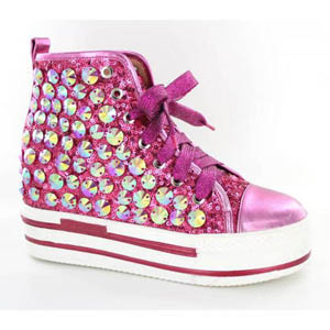 Helens Heart Womens FS-TN001 Fucshia Sequin Sneakers Casual Shoes