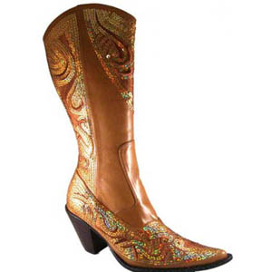 Helens Heart Womens LB-0290-10 Beige/Gold Sequin Boots Casual Shoes