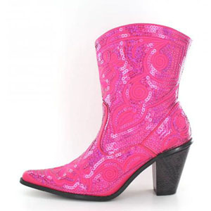 Helens Heart Womens LB-0290-11 Fuchsia Sequin Boots Casual Shoes