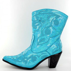 Helens Heart Womens LB-0290-11 Turquoise Sequin Boots Casual Shoes