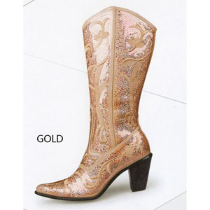 Helens Heart Womens LB-0290-12 Gold Sequin Boots Casual Shoes