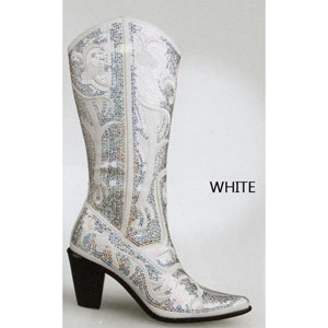 Helens Heart Womens LB-0290-12 White Sequin Boots Casual Shoes