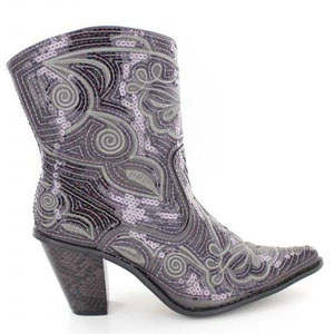 Helens Heart Womens LB-0290-11 Grey Sequin Boots Casual Shoes