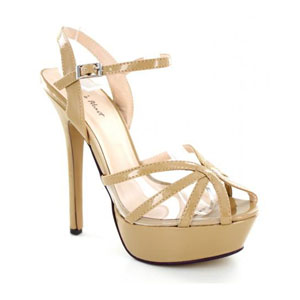 Helens Heart Womens PS-8159-030 Nude Leather Platforms Pageant Shoes