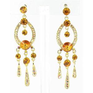 Jewelry by HH Womens JE-X001913 gold/topaz Beaded   Earrings Jewelry