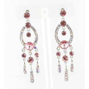 Jewelry by HH Womens JE-X001913 pink Beaded   Earrings Jewelry