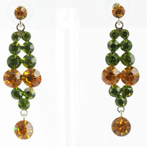 Jewelry by HH Womens JE-X001928 topaz olive Beaded   Earrings Jewelry