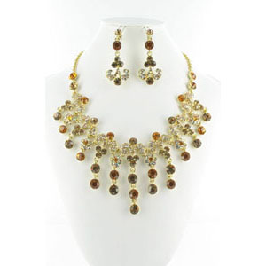 Jewelry by HH Womens NS-H005085 bronze Beaded   Necklaces Jewelry