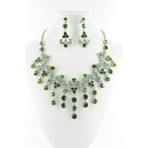Jewelry by HH Womens NS-H005085 green Beaded   Necklaces Jewelry
