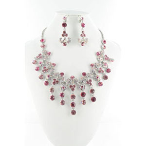 Jewelry by HH Womens NS-H005085 pink Beaded   Necklaces Jewelry