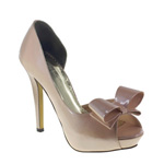 Johnathan Kayne Womens Bow Champagne Patent Pumps Prom and Evening Shoes