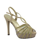 Johnathan Kayne Womens Glasgow Champagne Glitter Sandals Prom and Evening Shoes