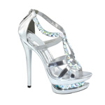 Johnathan Kayne Womens Glamazon Silver Beaded Platforms Prom and Evening Shoes