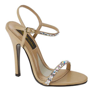 Johnathan Kayne Womens Savannah Taupe Beaded Sandals Prom and Evening Shoes