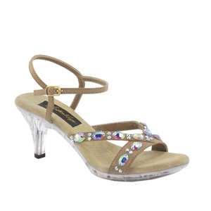 Johnathan Kayne Womens Vienna Taupe Beaded Sandals Prom and Evening Shoes