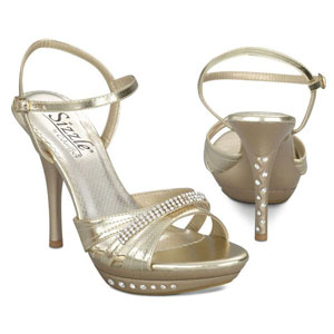 Sizzle Womens Milan Gold Metalllic Sandals Prom and Evening Shoes