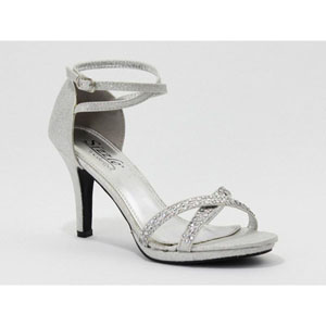 Sizzle Womens LOURDES SILVER Glitter Sandals Prom and Evening Shoes