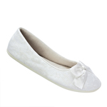 Touch Ups Womens Sheila White Fabric/Lace Ballet Wedding Shoes