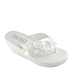 Touch Ups Womens Birdy White Satin Flip Flops Wedding Shoes