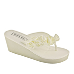 Touch Ups Womens Birdy Ivory Satin Flip Flops Wedding Shoes