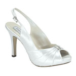 Touch Ups Womens Iris White Satin Sling Back Wedding Shoes