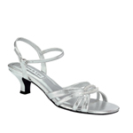 Touch Ups Womens Dakota Silver Satin Sandals Prom and Evening Shoes