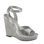 Touch Ups Womens Viviana Silver Glitter Wedge Prom and Evening Shoes