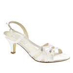 Touch Ups Womens Donetta White Satin Sandals Wedding Shoes