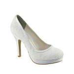 Touch Ups Womens Bobbie White Satin Pumps Wedding Shoes