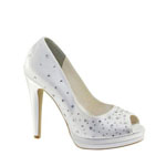 Touch Ups Womens Cyndi White Satin Peep/Open Toe Wedding Shoes