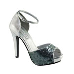 Touch Ups Womens Debbie Silver Sequin Peep/Open Toe Prom and Evening Shoes