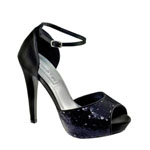 Touch Ups Womens Debbie Black Sequin Peep/Open Toe Prom and Evening Shoes