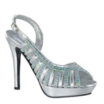 Touch Ups Womens Theresa Silver Beaded Sandals Prom and Evening Shoes