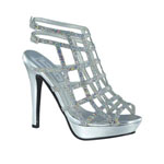 Touch Ups Womens Sable Silver Synthetic Sandals Prom and Evening Shoes