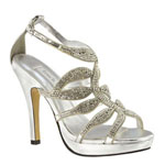 Touch Ups Womens Fire Silver Beaded Sandals Prom and Evening Shoes