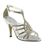 Touch Ups Womens Sally Silver Metalllic Sandals Prom and Evening Shoes