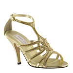Touch Ups Womens Sally Gold Metalllic Sandals Prom and Evening Shoes