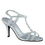 Touch Ups Womens Fran Silver Metalllic Sandals Prom and Evening Shoes