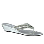 Touch Ups Womens Tango Silver Beaded Wedge Prom and Evening Shoes