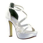 Touch Ups Womens Fancy White Satin Platforms Prom and Evening Shoes