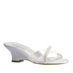 Touch Ups Womens Flair White Satin Platforms Prom and Evening Shoes
