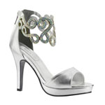Touch Ups Womens Saturn Silver Metalllic Platforms Prom and Evening Shoes